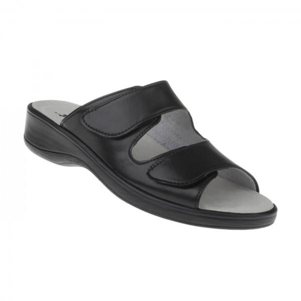 tessamino | Damen Pantoletten | Sola-Stretch in Leder Optik | Weite H | wechselbares Fußbett mit LederÃ?berzug