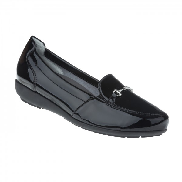 tessamino | Damen Mokassin Cristal | Sola-Stretch in Lack Optik | Weite H | herausnehmbares Memo-Latex Fußbett
